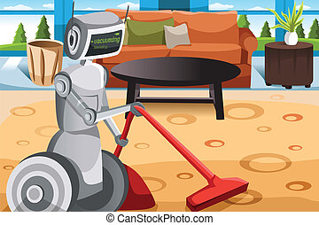 Robot vacuuming carpet - A vector illustration of a robot...