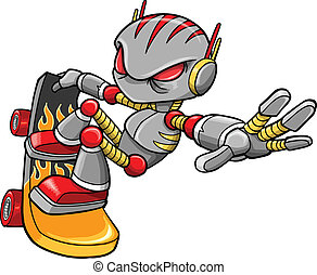 robot, vecteur, cyborg, skateboarder