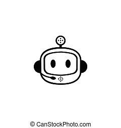 robot, vecteur, tête