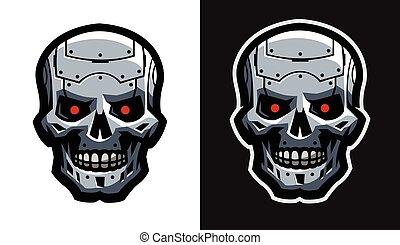 robot., versions., métal, deux, crâne