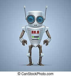 robot., vetorial, metal