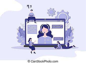 Robot Virtual Assistance or Chatbot Background Vector illustration. People smartphone conversation with Online technical support and Messaging