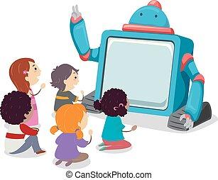 Robot Visual Story Telling Stickman Kids