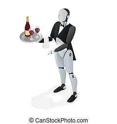 Robot waiter in tuxedo and gloves holding a wine and goblets tray and napkin. Restaurant concept. Flat isometric vector illustration