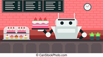 Robot waiter working at pastry shop. - Robot waiter serving...