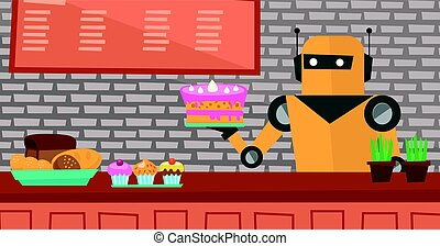 Robot waiter working at pastry shop. - Robot waiter serving...
