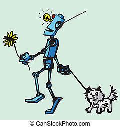 Robot walks his dog. Illustration.