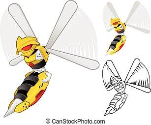 Robot Wasp Cartoon Character