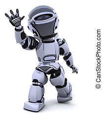 Robot waving - 3D render of a robot introducing or...