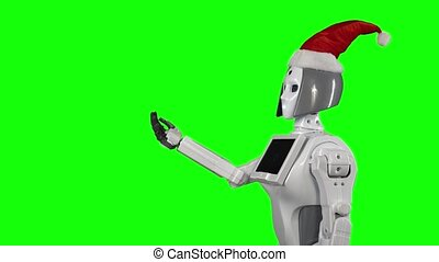 Robot wearing a Santa Claus hat is calling for a hand...