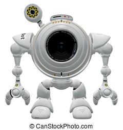 Robot Web Cam Standing Straight - A robot web cam standing...