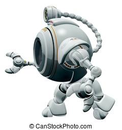 Robot Web Cam Walking Side Ways - A 3d robot web cam walking...