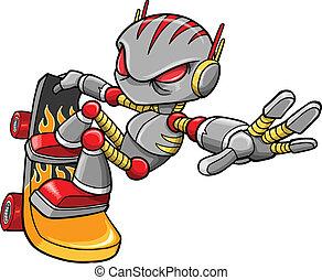 robot, wektor, cyborg, skateboarder
