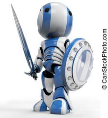 Robot White Knight Warrior - A blue robot holding a sword...