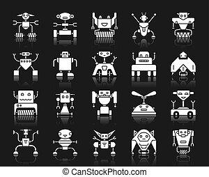 Robot white silhouette icons vector set on black
