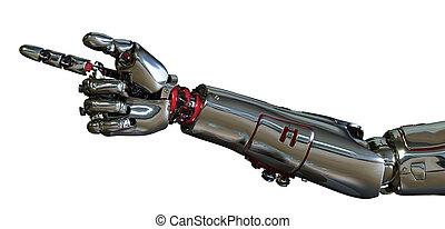 robot, wijzende, arm