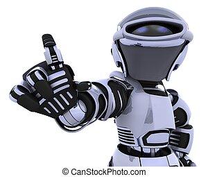 robot, wijzende
