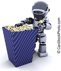 robot with a box of popcorn - 3D render of a robot with a...