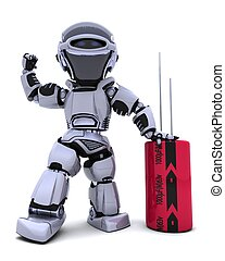 3D Renderof a Robot with a Capacitor
