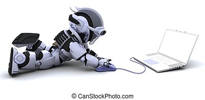 robot with a computer and mouse - 3D render of robot with a ...