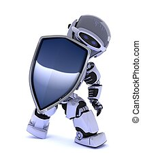 Robot with a shield - 3D Render of a Robot with a shield
