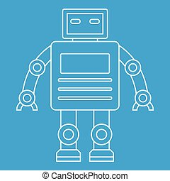 Robot with a square head icon, outline style