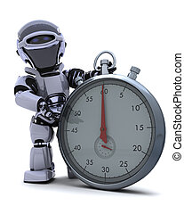Robot with a Traditional chrome stop watch - 3D render of a...