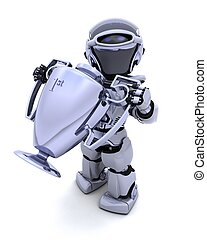 Robot with a trophy - 3D render of a Robot with a trophy
