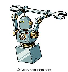 robot with a wrench