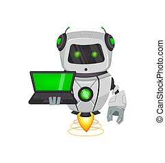 Robot with artificial intelligence, bot. Funny cartoon...