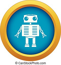 Robot with big eyes icon blue vector isolated