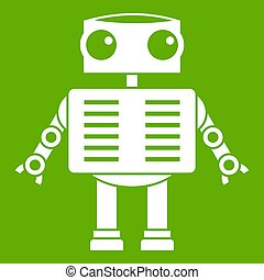 Robot with big eyes icon green - Robot with big eyes icon...