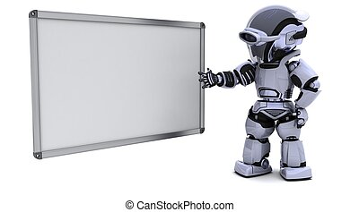 robot with blank white board - 3D render of a robot with...