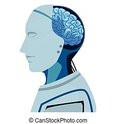 robot with brain exposed cartoon icon vector illustration...