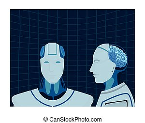 robot with brain exposed portrait cartoon character vector...