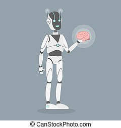 Robot with brain.