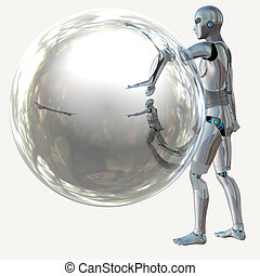 Robot with bubble - Cyborg, humanoid with transparent...