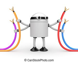 Robot with cables - 3D Robot with colorful cables