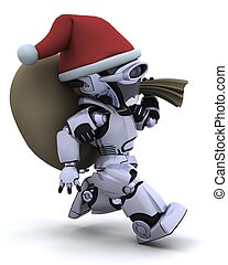 robot with christmas gift sack - 3D render of a robot with...