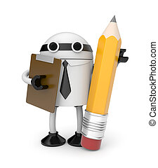 Robot with clipboard and pencil - Business concept. Isolated...