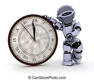 Robot with clock at new years - 3D Render of a Robot with...