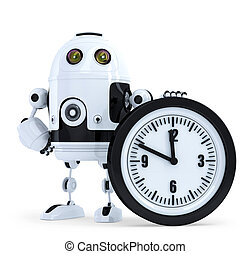 Robot with clock. Technology concept. Isolated. Contains...