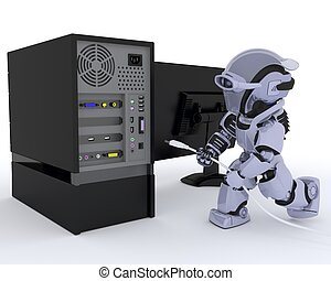 Robot with computer - 3D render of a Robot with a computer