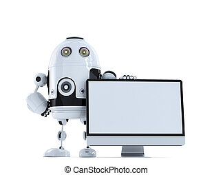 Robot with computer monitor. Technology concept