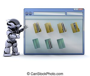 robot with computer window and folder icons