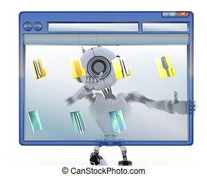 Robot with computer window