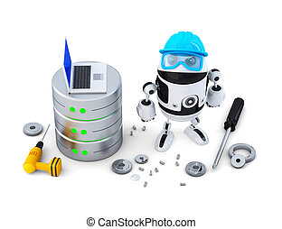 Robot with database. Technology concept. Isolated. Contains clipping path