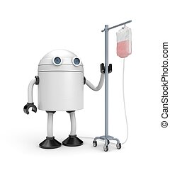 Robot with dropper. 3d illustration