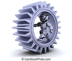 robot with gear mechanism - 3d Render of robots with gear ...
