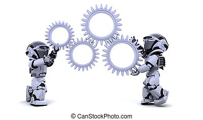 robot with gear mechanism - 3d Render of robots with gear...